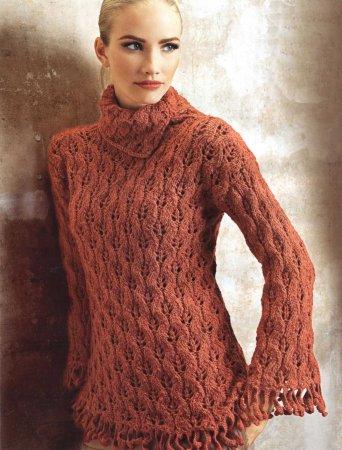 Рельефный пуловер с ажурным узором