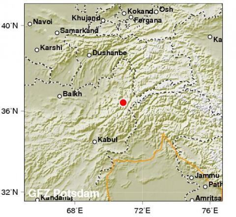 Магнитуда землетрясения в Аф…