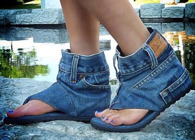 Обувь из джинсов