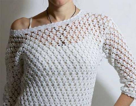 Изумительный узор для вязания крючком ажурных пуловеров, туник, жакетов…