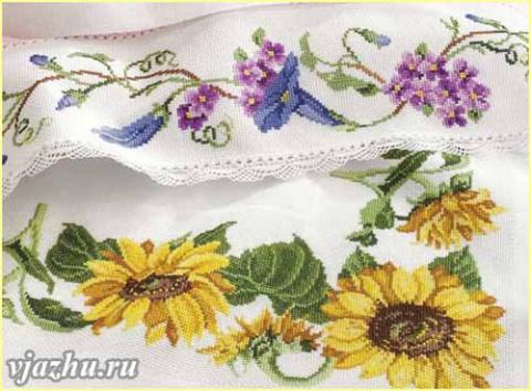 Вышивка бордюров крестом - схемы цветочных узоров