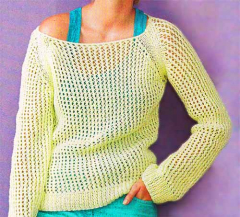 пуловер с сетчатым узором