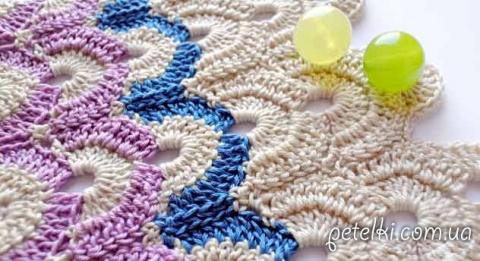 Узор крючком - разноцветные арочки. Схема, МК