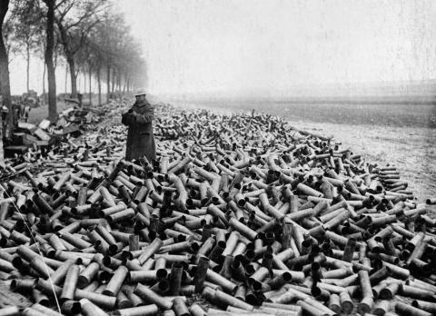 Гильзы, оставшиеся после бом…