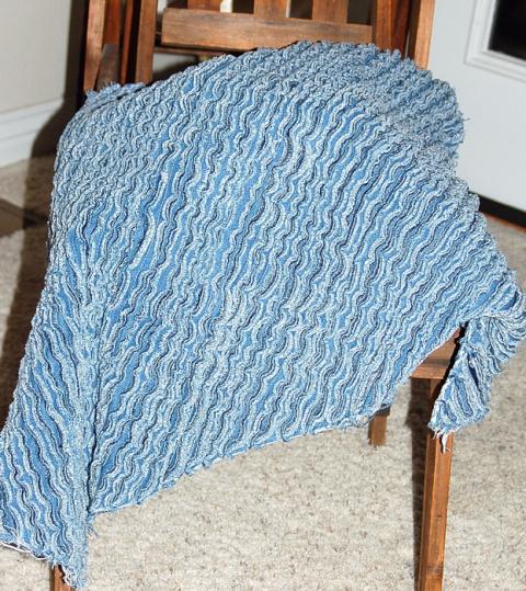 Джинсовый пушистый коврик в технике синель. МК