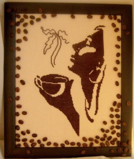 Схема вышивки девушки с чашкой кофе