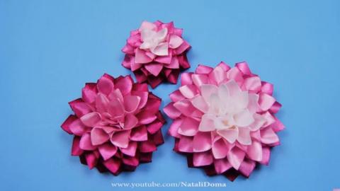 Канзаши - цветы из лент. Видео МК