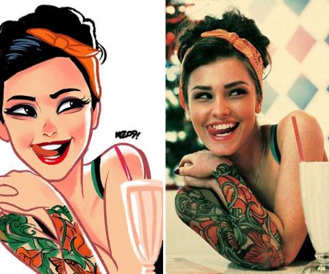 Только взгляните, как преобразил фото девушек бразильский художник! Удивительно эффектно, правда?