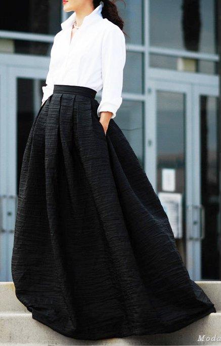 Уличный стиль лета 2017 — модные образы с длинной юбкой