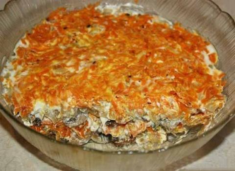 салат из грибов и моркови