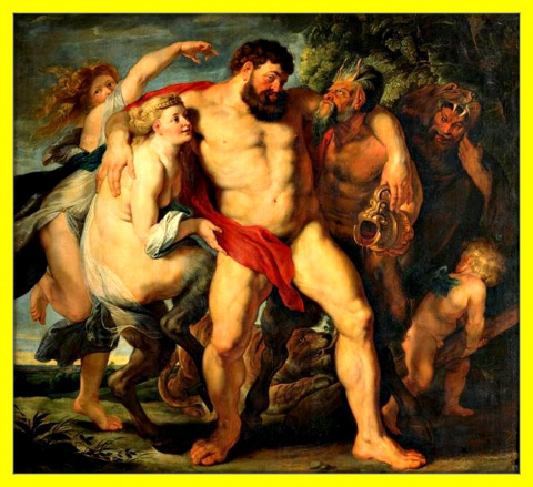 Нимфа и сатир ведут пьяного Геркулеса.1611г.