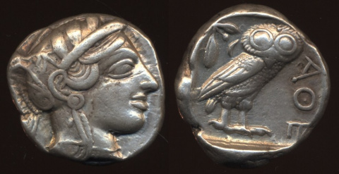 тетрадрахма - монета Эллады, птица Афины, смотрит направо. Сова была на гербе Тартарии