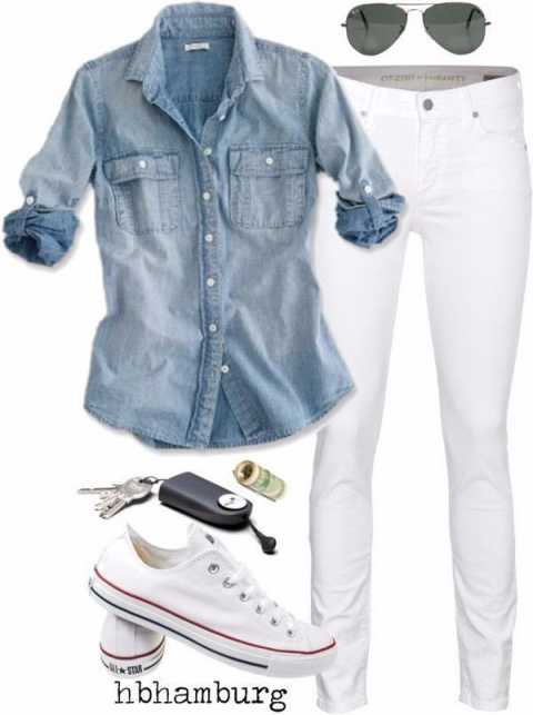 Образы с джинсовой рубашкой