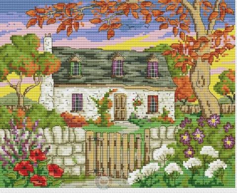 """картина """"домик в саду"""" крестом"""