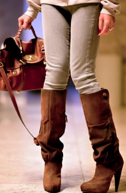 Коричневые сапоги в сочетании с одеждой: 7 интересных луков