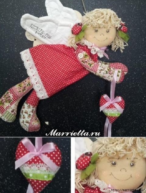 Текстильная подвеска. Ангел с валентинкой