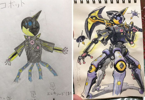Художник превращает рисунки сыновей в крутых персонажей