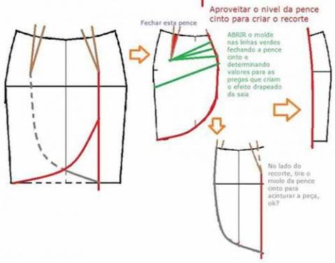 Выкройка юбки с запахом и горизонтальными складками
