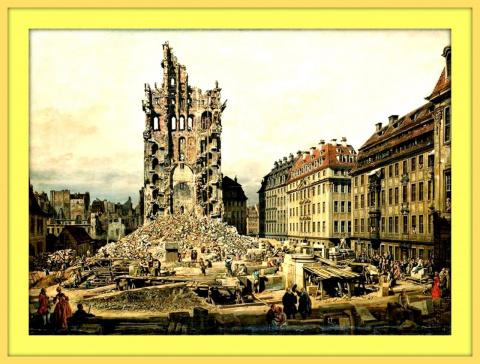 Руины бывшей церкви Св.Креста в Дрездене.