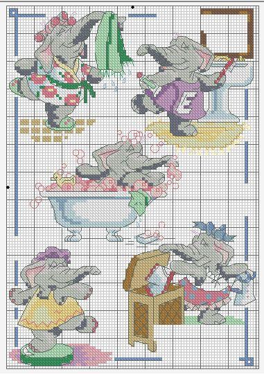 Схемы вышивок для ванной и туалета 228