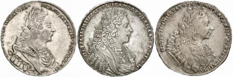 Чей портрет на рублевых монетах Петра II?
