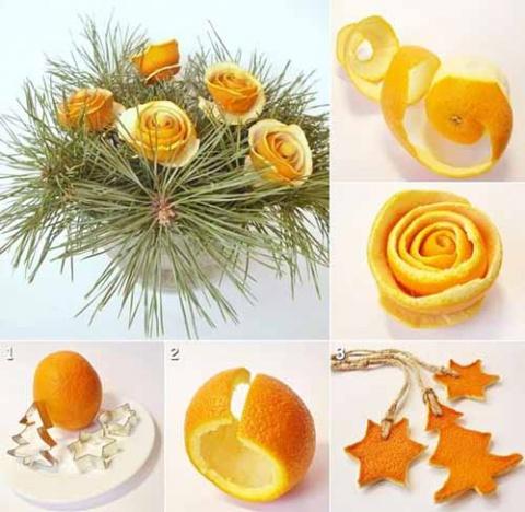 Новогодний декор из мандариновой кожуры