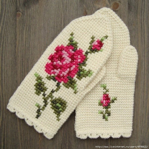 Варежки с розой, тунисское вязание. Схема