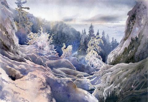 Удивительно снежные акварели Гжегожа Врубеля(Grzegorz Wrobel)