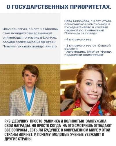 Награда за победу в олимпиад…