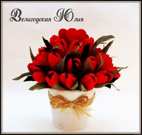 Конфетные тюльпаны к 8 марта