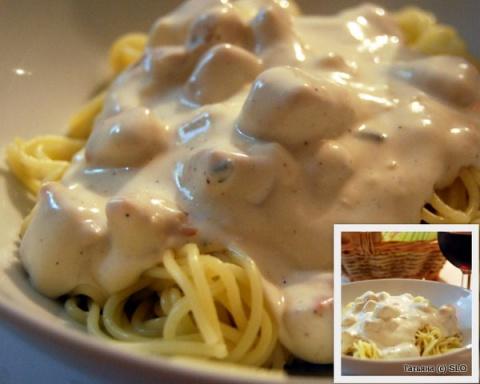 Спагетти с сырным соусом из плавленых сырков. Фото-рецепт.