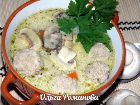 Суп с фрикадельками, грибами…