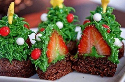 Новогодний десерт Елочки с секретом
