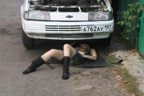 Необычный завсегдатай гаражного кооператива