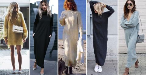 С чем носить вязаное платье: мини, миди, оверсайз и водолазка