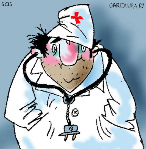В кабинет хирурга вбегает человек с вилкой в животе...