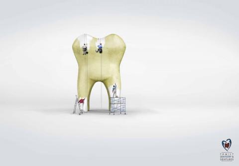 Креативная реклама отбеливания зубов