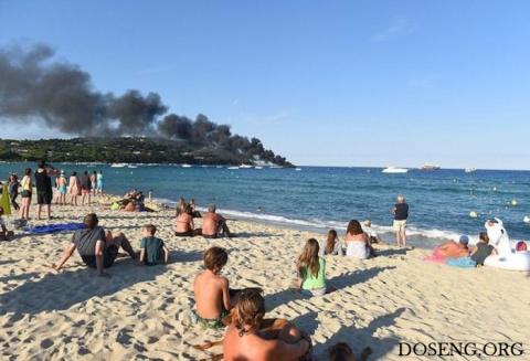Пожар на роскошной яхте в Сен-Тропе