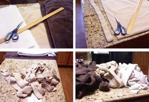 Коврик из старых полотенец - отличная идея!