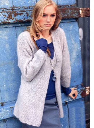 Удлинённый пуловер со шлицей на перёде