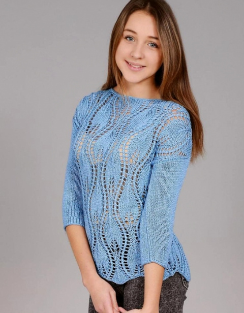 ВЯЖЕМ. Пуловер узором листья