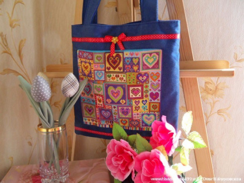 """Вышивка крестом —  сумка с вышивкой """"Сердца""""(МК со схемой)"""