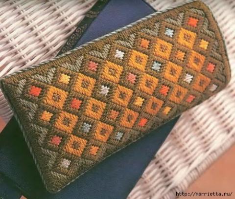 Флорентийская вышивка в технике барджелло — вышиваем футляр для очков(МК)