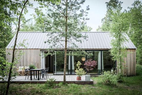 Современный летний домик посреди леса в Дании