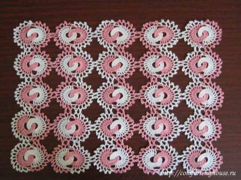 Японские мотивы. Ажурная салфетка из колечек и оригинальный японский плед