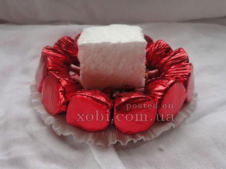мастер-класс по созданию цветочной тарталетки из конфет