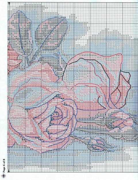 Схема для вышивки срезанные розы