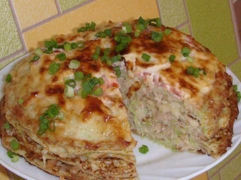 Кабачково-сырный тортик с мясом.