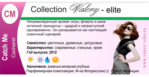 парфюмерия Валери Элит. Карточка аромастилиста. автор - Ирина Непогодова