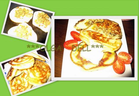 Пирожки  для ленивых или  Аладьи с начинкой